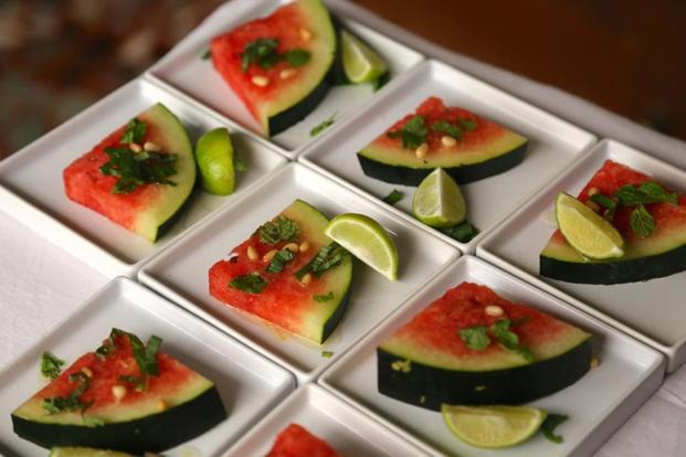 Watermelon salad with Feni Dressing. Photo: Tara Deshpande Tennebaum