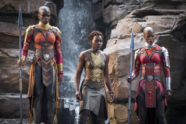 (From left) Danai Gurira, Lupita Nyong'o and Florence Kasumba in a still from 'Black Panther'. Photo: AP
