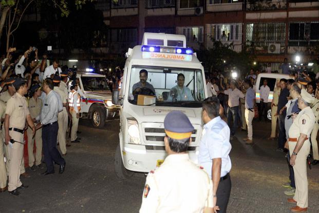 An ambulance, escorted by three police vehicles, brought Sridevi's body home from the airport at around 10.30 pm soon after it arrived from Dubai where she died three days ago. Photo: PTI