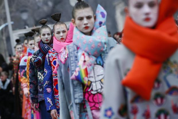 Models wearing creations for Manish Arora's ready-to-wear fall/winter 2018/2019 collection at Paris Fashion Week on Thursday. Photo: AP