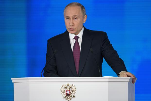 Russian President Vladimir Putin illustrated with video clips of the new arms, which included underwater drones, intercontinental missiles and a hypersonic system he said 'heads for its target like a meteorite.' Photo: AP