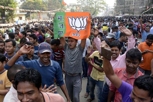 Continuing its winning streak, the BJP on Saturday wrested Tripura from the Left Front and received an invitation to be part of the government in Nagaland, while Meghalaya elected a hung assembly. Photo: AFP