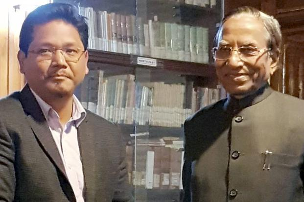 NPP leader Conrad Sangma meets Meghalaya governor Ganga Prasad at Raj Bhawan in Shillong on Sunday submitting a letter of support from 34 MLAs including 19 from NPP six from UDP four from PDF two each from HSPDP and the BJP and an independent
