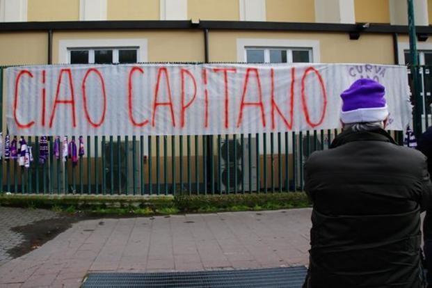 A banner reading in Italian 'So long captain' is hung outside the Artemio Franchi stadium to honour Fiorentina captain Davide Astori, in Florence on 4 March. Photo: AP