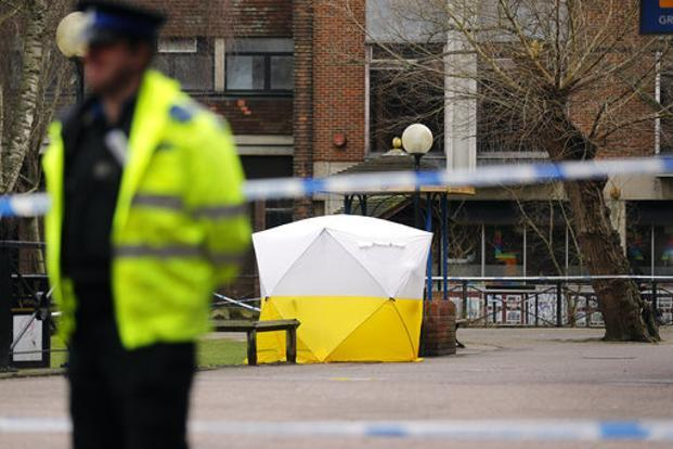 A police tent covers the spot in Salisbury, where former Russian spy double agent Sergei Skripal and his daughter were found critically ill on Sunday. Photo: AP