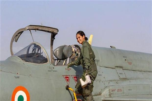 Flying officer Avani Chaturvedi who flew a 30-minute solo sortie in an MiG-21 at the Jamnagar airbase. She underwent six months of intensive training at the Air Force Academy in Dundigal, before she was inducted into the IAF fighter squadron. Photo: PTI