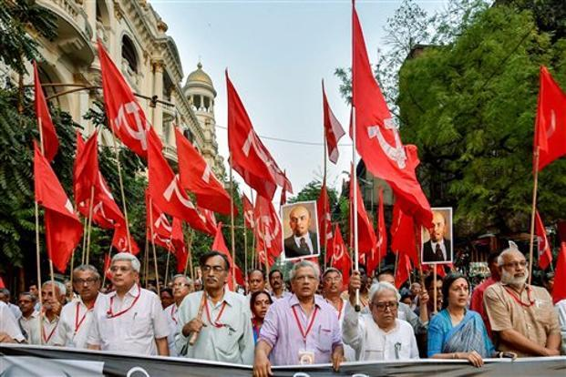 CPI(M) general secretary Sitaram Yehchuri with other Politburo members at a rally in Kolkata on Tuesday to protest against vandalising of Lenin's statue in Tripura. Photo: PTI