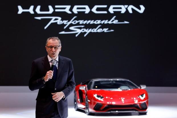 Automobili Lamborghini CEO Stefano Domenicali speaks during a presentation at the 88th International Motor Show at Palexpo in Geneva. Photo: Reuters