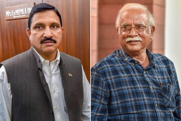 TDP ministers Y.S. Chowdary (left) and Ashok Gajapathi Raju resigned from the Union cabinet on Thursday. Photo: PTI