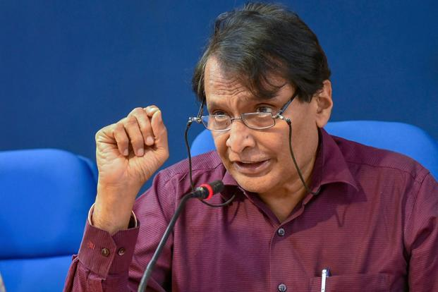 Commerce minister Suresh Prabhu. In October-December quarter, India posted a GDP growth of 7.2% to reclaim the tag of world's fastest growing major economy from China. Photo: PTI