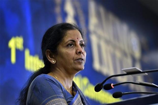 Defence minister Nirmala Sitharaman addresses an international conference on military ammunition in New Delhi on Monday