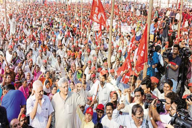 CPM leader Sitaram Yechuri at the farmers protest in Azad Maidan in Mumbai on Monday. Photo: PTI