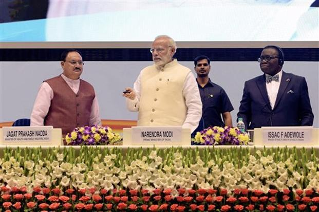 Prime Minister Narendra Modi launches Tuberculosis-Free India Campaign to meet the goal of ending the epidemic by 2025 in New Delhi on Tuesday. Photo: PTI.