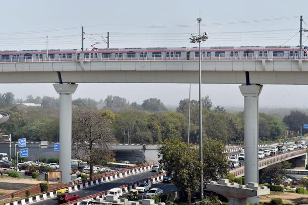 The stretch between Majlis Park and Durgabai Deshmukh South Campus is part of a longer 58.9-km 'ring corridor', which will become the longest metro line in the country, when completed. Photo: PTI