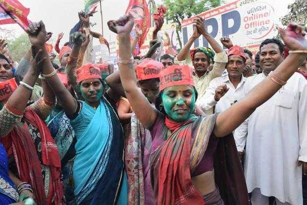 Supporters of Samajwadi Party in Gorakhpur on Wednesday. Alliance formation however will be a lot trickier in the 2019 Lok Sabha elections than they were in UP bypolls