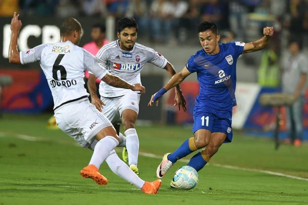 Sunil Chhetri (in blue) will play in the ISL final for Bengaluru FC on Saturday. Photo: AFP