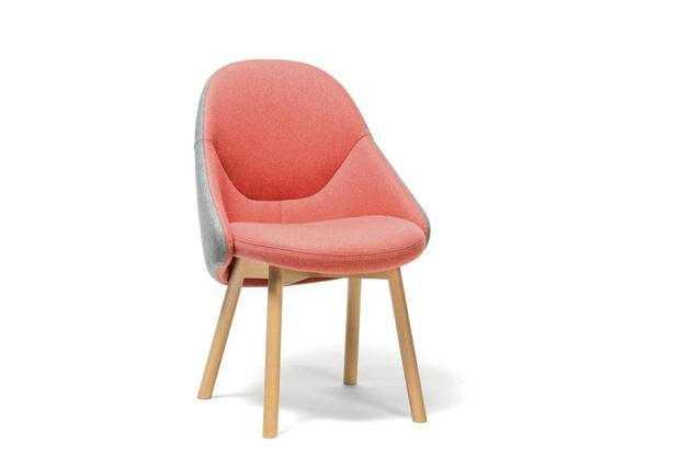 Alba comes in a light grey on the outside, and a pop of peach in its upholstered seat.