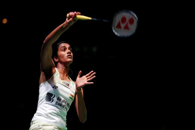 India's P.V. Sindhu during her quarterfinal match with Japan's Nozomi Okuhara at the All England Championship