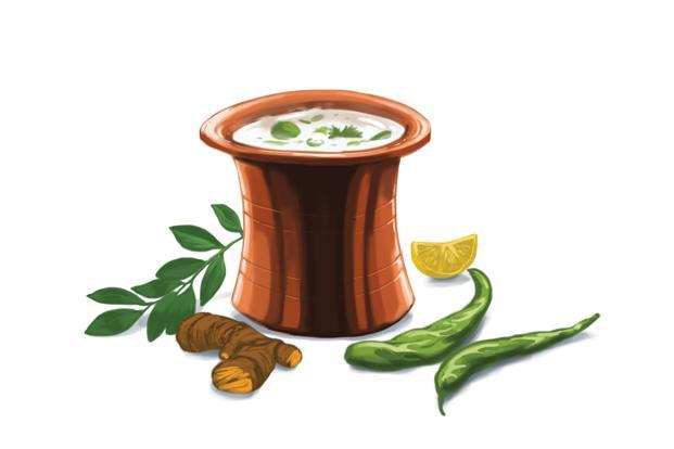 Neer mor is like a savoury lassi made from yogurt, green chillies, curry leaves and ginger.
