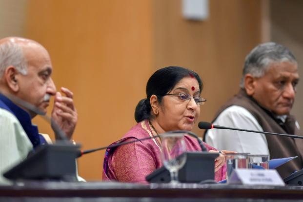 External affairs minister Sushma Swaraj (centre) with ministers of state for external affairs, M.J. Akbar (left) and V.K. Singh, at a press conference over the death of 39 Indians who were abducted by Islamic State in Iraq, in New Delhi on 20 March. Photo: PTI