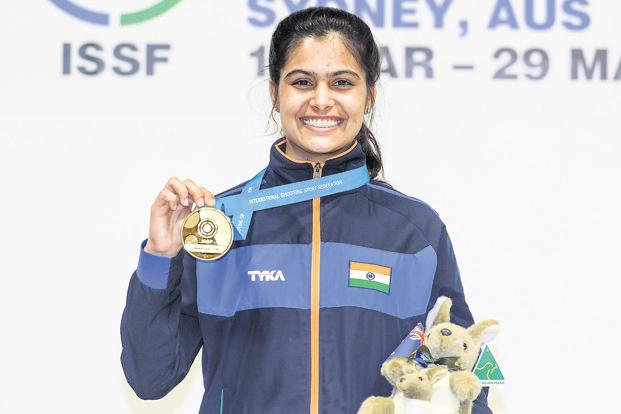 Manu Bhaker, who finished 49th at the ISSF Junior World Cup last year, has won it this year. Photo: Twitter@ISSF