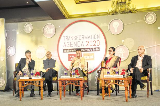 From left, Gurdeep Singh, chairman and managing director, NTPC; Ajay Mathur, director general Teri; Utpal Bhaskar, infrastructure editor, Mint; Radhika Khosla, fellow, Centre for Policy Research, and Reji Kumar Pillai, chairman, Global Smart Grid Federation. Photo: Ramesh Pathania/Mint