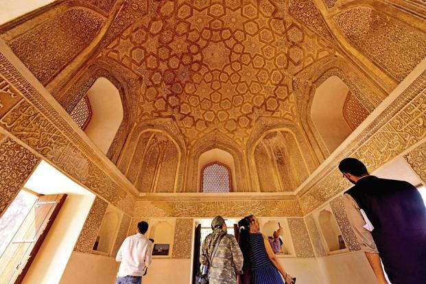 The domed ceiling of the Sunderwala Burj. Photo: Pradeep Gaur/Mint