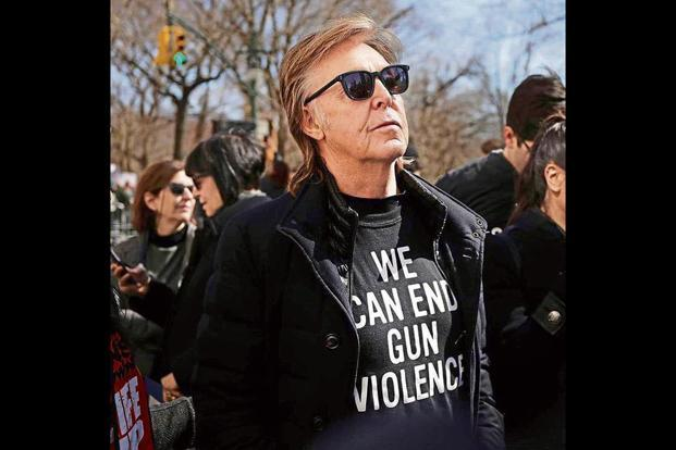 Sir Paul McCartney at the March for Our Lives rally in New York earlier this week. Photo: Instagram