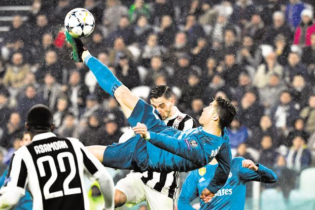 Real Madrid's Cristiano Ronaldo during the UEFA Champions League quarter-final first leg football match between Juventus and Real Madrid at the Allianz Stadium in Turin on Tuesday.  Photo: AFP