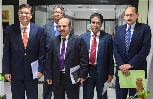 RBI governor Urjit Patel (extreme left) with his monetary policy committee colleagues on Thursday. Photo: PTI