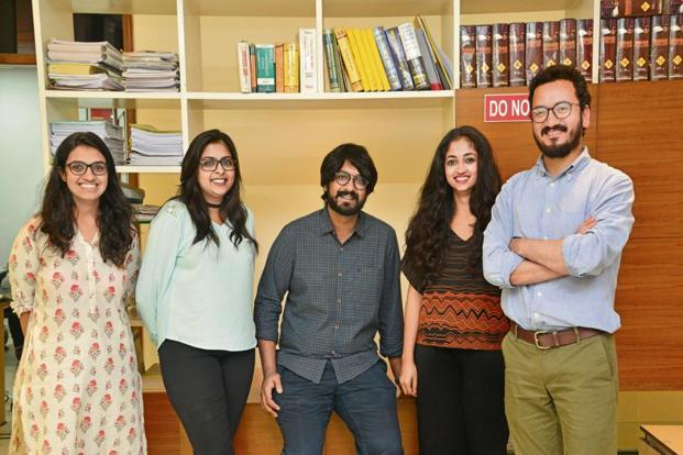 The team at Nyaaya: (from left) Adrija Jayanthy, Shonottra Kumar, Sumeysh Srivastava, Malavika Rajkumar and Mustafa Haji. Photo: Ramesh Pathania/Mint