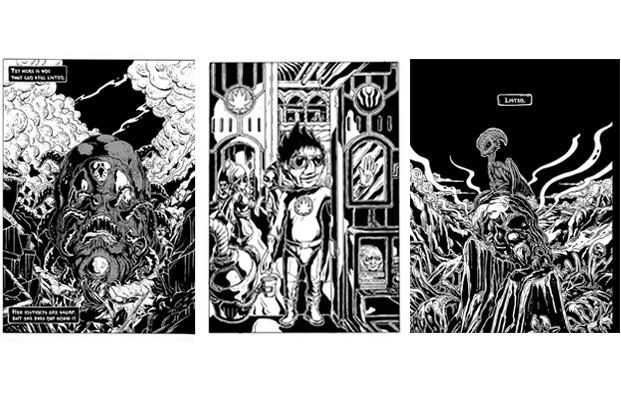Appupen uses pen, brush and ink to give his panels a woodcut effect. Through the panels, he creates a detailed black and white world where forces of mechanization and consumerism are destroying the natural world and life itself. These panels represent three aspects of the imagined realm of Halahala, depicting one of the protagonists (Left); Godlings in the White City (centre); and a creature of the Silent Green.