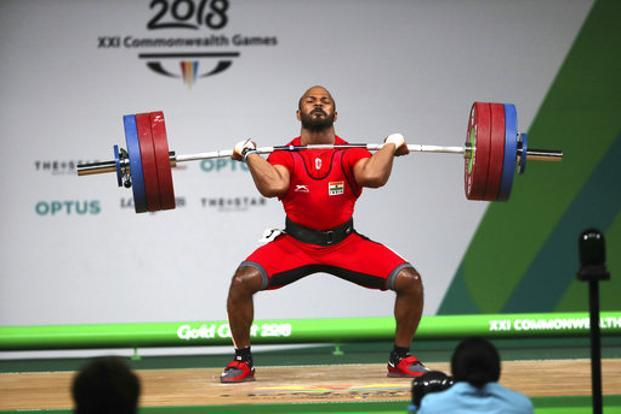 Satish Sivalingam lifts to win Gold medal in Men's 77kg Weightlifting final during the Commonwealth Games in Gold Coast  on 7 April 2018. Photo: AP