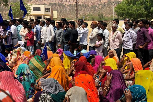 File photo: People belonging to the Dalit community take part in a nationwide strike called by several Dalit organisations in Kasba Bonli, Rajasthan, on 2 April, 2018. Pic: PTI