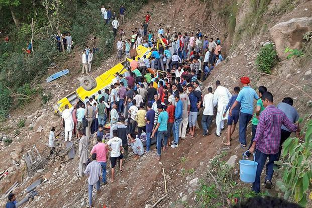 School bus lunged into deep gorge on the Nurpur-Chamba highway