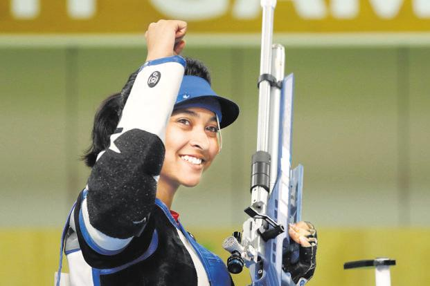 After setting a CWG record with a 10.9 in the final shot of the 10m air rifle event, Mehuli Ghosh managed 9.9 in the shoot-off and won the silver. Photo: Reuters