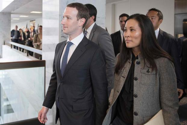 Facebook CEO Mark Zuckerberg depart US Senator Bill Nelson's office. Photo: AFP