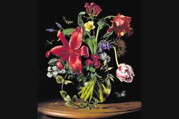 Inspired by the Dutch Golden Age tradition of flower painting, Meeuws' abundant bouquets of lush and exotic flowers (streaked tulips, lilies, roses, peonies, wild flowers and more) are populated with life.
