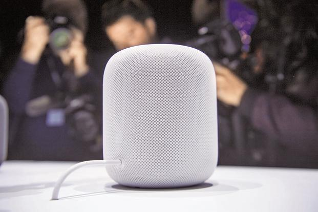 File photo: An Apple Inc. HomePod speaker sits on display during the Apple Worldwide Developers Conference (WWDC) in San Jose, California, US on 5 June, 2017. Photo: Bloomberg