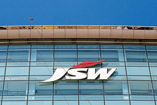 The logo of JSW Steel is seen on the company's headquarters in Mumbai. Photo: Reuters