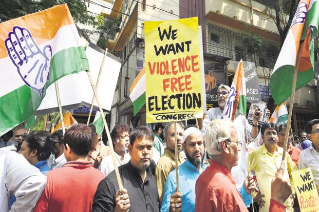 Congress activists during a protest against violence in West Bengal panchayat elections, in Kolkata on Thursday. Photo: PTI