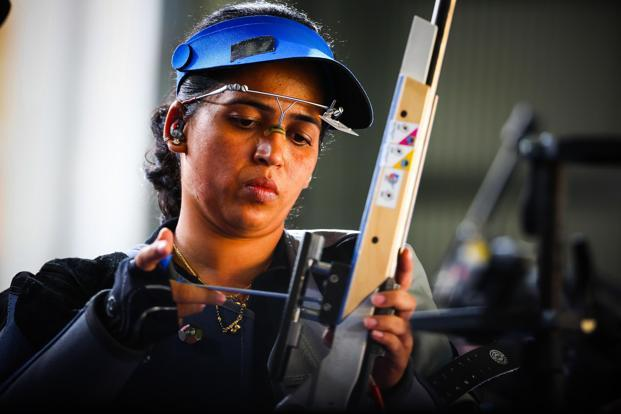 This is the seventh Commonwealth Games medal for Tejaswini Sawant, following two golds in 2006, a pair of silvers and a bronze in 2010 and a silver in women's 50m rifle prone in the ongoing edition. Photo: AFP