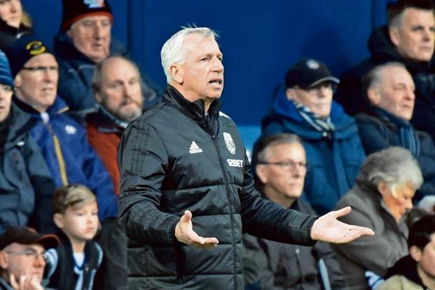 West Bromwich Albion manager Alan Pardew during his team's match against Burnley on 31 March. This was his last Premier League match as coach