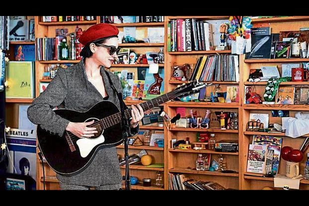St Vincent performing at a Tiny Desk Concert in January.
