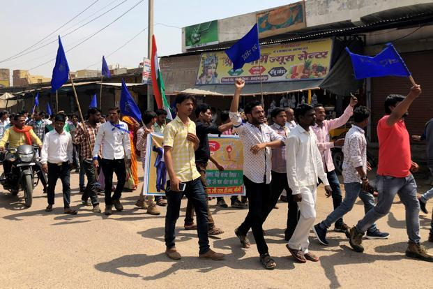 People belonging to the Dalit community shouting slogans as they take part in a nationwide strike called by several Dalit organisations, in Kasba Bonli, in Rajasthan, on 2 April. File photo: Reuters