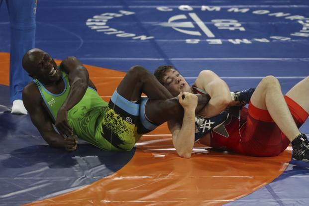 A representational image. Canada's Alexander Moore wrestles with Jamaica's Kevin Wallen in men's FS 86Kg quarterfinal wrestling match at the Commonwealth Games on Gold Coast on 14 April 2018