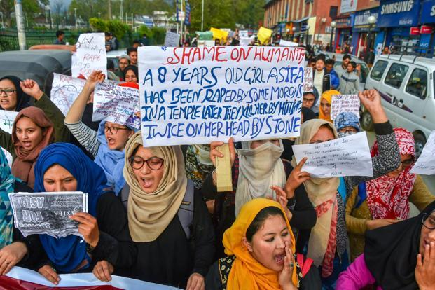 Protests against the Kathua rape case in Srinagar on Monday. We need outrage, not just from every citizen in India, but also from groups that have specific political representation. Photo: PTI
