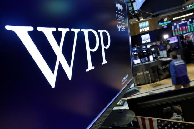 The logo for WPP appears above a trading post on the floor of the New York Stock Exchange, Wednesday, 4 April, 2018. Photo: AP