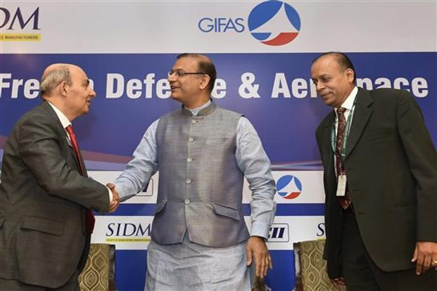 Minister of state for civil aviation Jayant Sinha with Dassault Aviation's Eric Trappier during a seminar on India-French Defence & Aerospace Cooperation in New Delhi on Monday. Photo: PTI