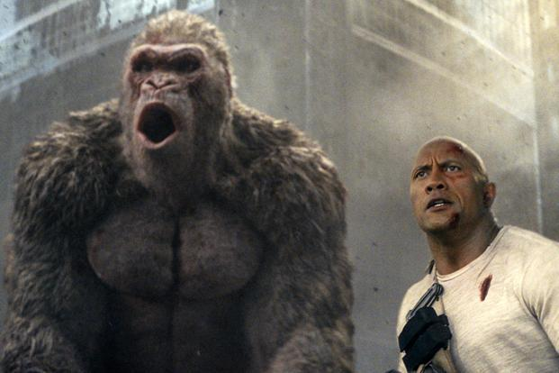 A still featuring actor Dwayne Johnson from the American monster film 'Rampage'.